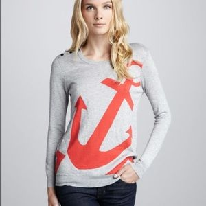 Joie - Gray Red Anchor Pull Over Sweater (small)